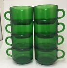 8 Vintage Vereco France Forest Green Mugs Emerald Green Glass Cups