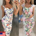 Women OL Formal Business Stretch Cocktail Party Evening Slim Pencil Floral Dress