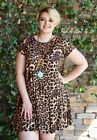 PLUS SIZE LEOPARD PRINT BOHO BABYDOLL SWING MINI DRESS XL 1X 2X USA TRUE TO SIZE