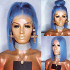 10-16'' Women Light Blue Lace Front Wig Fashion Synthetic Hair Bob Straight Wigs