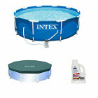 Intex Above Ground 10 Ft x 30 In Swimming Pool w Pool Cover + Phosphate Remover