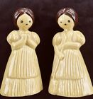 Vintage 3 Hole Salt And Pepper Shakers 4 Prairie Girls With Long Braids