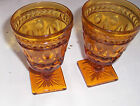 Lot 2 Amber Thumbprint Footed  Water / Beverage Glasses