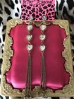 Betsey Johnson Heart Of Gold Double Sided Crystal Glass Long Chain Earrings