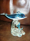 DOLPHINS ART GLASS FIGURINE PAPERWEIGHT OFFICE DESK DECOR RARE 65 x 65 BLUE