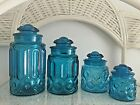 Full Set of 4 Vintage L.E. Smith Blue Moon and Stars Apothecary Canister Jars