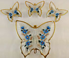 Vintage Butterfly Candy Dish 4 Piece Set Hand Painted Blue Flowers