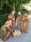 Vintage Nativity set 6 piece 36 to 10 life size rare hand painted holy family