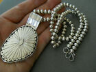 Native American Sterling Silver on Silver Bead Necklace + Pendant ELOUISE KEE