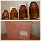 Set of 4 VINTAGE Amber Apothecary Glass Canisters Lids LE SMITH Moon and Stars