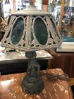 Antique Pot Metal Spelter and Slag Glass Cherub Lamp