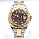 Rolex Yacht-Master 18K Yellow Gold Stainless Watch M.O.P Dial 168623 Box Papers
