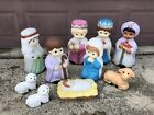 Vintage Empire Blow Mold Xmas Child Kids Nativity Set Mary Joseph Wise Men