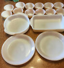 16 pc Lot Vintage Fire King Peach Luster 6 Oz bowls, pie plates, baking dishes