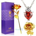 MOTHERS DAY GIFT FOR MOM 24K Gold Plated Rose Dipped Flower + Crystal Necklace