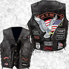 Mens Black Leather Motorcycle Vest Waistcoat with 14 Biker Style Patches Jacket