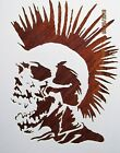 Skull with Mohawk Stencil Template Reusable 10 mil Mylar