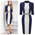 Women's Vertical Color Block Bodycon Dress, Perfect for Business and more!