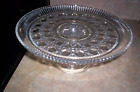 Vintage Clear Cut Glass Cake Plate/Stand---Beautiful Pattern---Mint Condition
