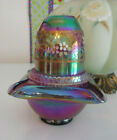 FENTON ART GLASS 1995 PLUM CARNIVAL 3 PC FAIRY LIGHT HTF
