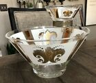Vintage Anchor Hocking Festive 22k Gold White Chip and Dip Bowl Set