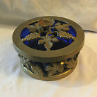 Vintage Brass and Blue Glass Dish with Lid