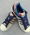 Adidas Superstar Mens Size 13 Gray Navy Fabric Shell Toe Shoes Sneakers