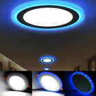 Dual Blue + White LED Acrylic Panel Light Slim Round Recessed Ceiling Downlight