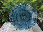 Vintage Indiana Glass Iridescent blue serving dish plate fluted edge diamond