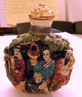 Chinese Porcelain Snuff Bottle with Raised Figures Qianlong Mark