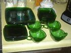 16 Vintage Pieces FIRE KING FOREST GREEN CHARM SQUARE DINNERWARE
