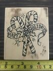 PSX Happy Holidays Candy Canes F 3201 rubber stamp NEW
