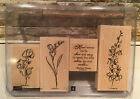 Stampin Up ECHOES OF KINDNESS 4 Piece Wood Mount Rubber Stamp Set Never Used