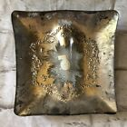 Dorothy C. Thorpe, Sterling Silver on Crystal Square  Ash Tray Vintage EUC