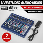 F7 USB 7 Channel Digital Mic Line Audio Sound Mixer Mixing Console Blue
