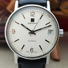 Rare Vintage 1970s Zenith Surf Automatic Mens Watch White Dial Stainless Steel