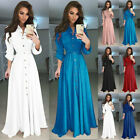 Women V-neck Long Sleeve Boho Holiday Vintage Maxi Dress Evening Party Cocktail