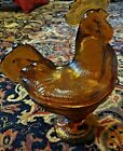 Nice! Vintage Amber Rooster Covered Candy Dish Standing