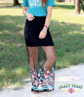 Crazy Train Maxi Daisy Long Skirt L And XL Sheer Embroidered Black NEW
