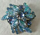 Juliana DE Blue Iridescent Molded Lava Glass Rhinestone Flower Brooch Cabochon