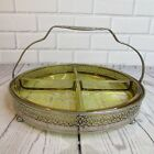 Vintage Amber Depression Glass Divided Candy Nut Dish Royal Rochester Filigree