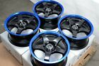 15 4x100 4x1143 Blue Wheels Fits Honda Accord Civic Elantra Sonata 4 Lug Rims