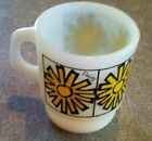 Old Vintage Anchor Hocking Fire King Ware Coffee Cup Mug Daisy Design USA