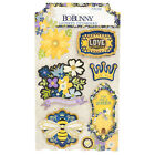 BoBunny BEE UTIFUL YOU Layered CHIPBOARD STICKERS scrapbooking Glitter Accents