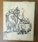 VIP Visual Image Printery Rubber Stamp Halloween Witch  Cauldron Spooky