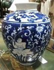 Old Antique Asian Chinese Pottery Vase Urn Blue  White Buddha Oriental Art C