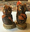 Nut and Wood Squirrel Salt Pepper Shakers Vintage Wood Land Creatures