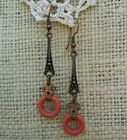 Antique Vintage Art Deco Style Copper Earrings Coral Glass Doughnut Dangle Drop