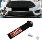Front Rear Bumper Japanese Racing Rising Sun Decal Black Tow Strap Towing Hook