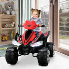 Kids ATV 4 Wheeler Powered Ride On Quad with Power Electric LED Lights Red